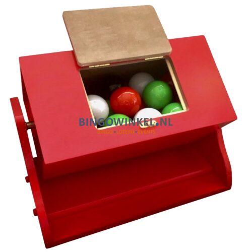 Loterij trommel hout rood inhoud loterijballen