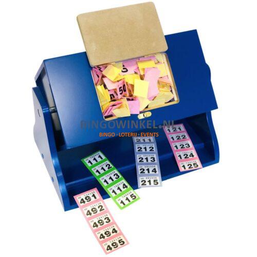 Loterij trommel hout blauw inhoud lootjes