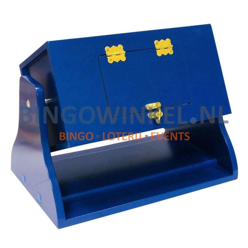 Loterij trommel hout blauw