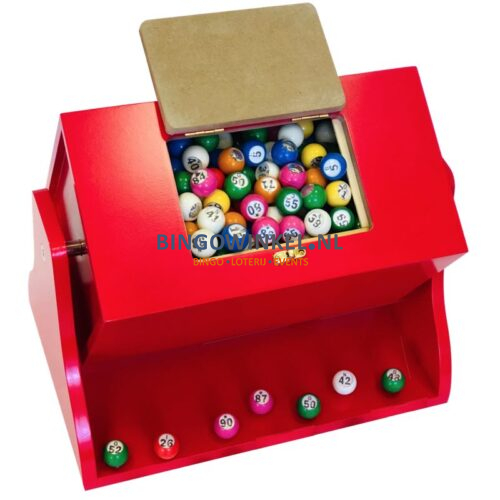Loterij trommel hout rood inhoud bingoballen