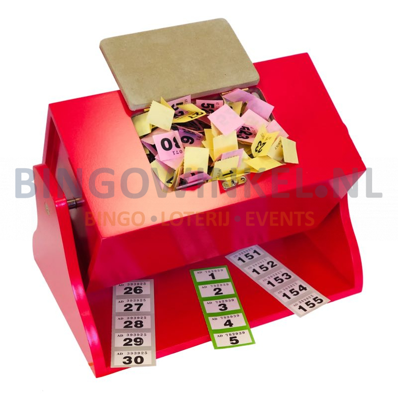 Loterij trommel hout rood inhoud lootjes