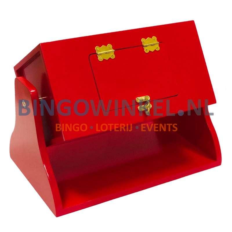 Loterij trommel hout rood