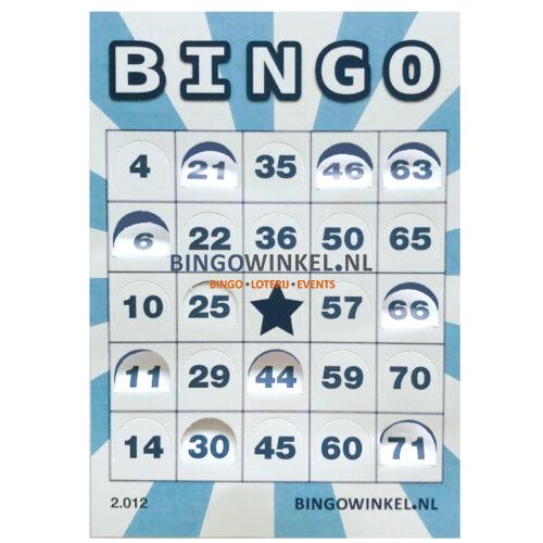 bingokaart flexibel karton blauw push-out open met achtergrond