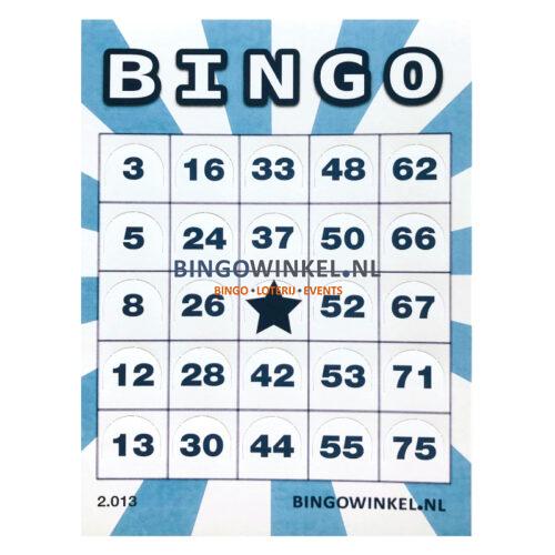 bingokaart flexibel karton blauw pushout dicht