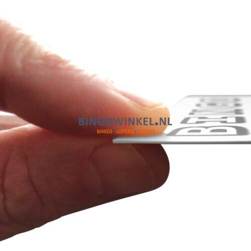 bingokaart flexibel karton zwart wit in hand