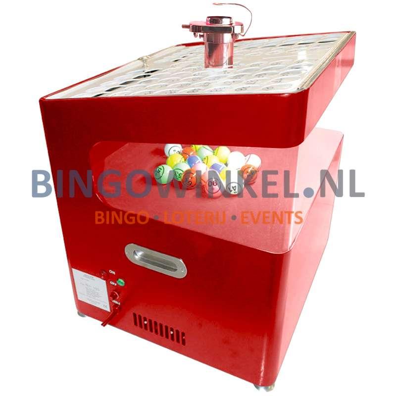 Bingo Blower machine rood zijkant